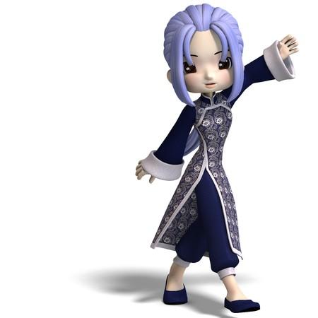 figura encantador de dibujos animados de china en ropa de color azul oscuro. Procesamiento de 3D  Foto de archivo - 7067034