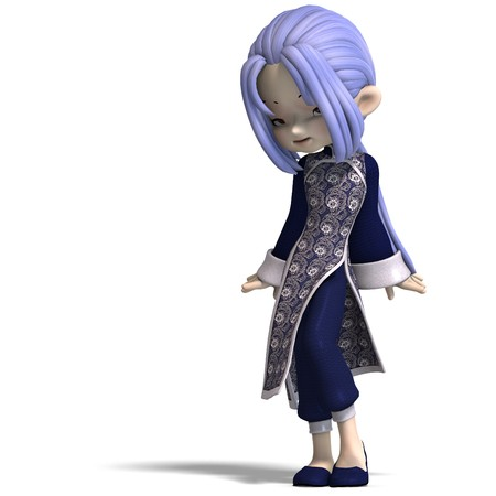 charming china cartoon figure in dark blue clothes. 3D rendering  photo