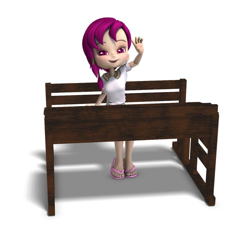cute little cartoon school girl sitting on a school form. 3D rendering  photo