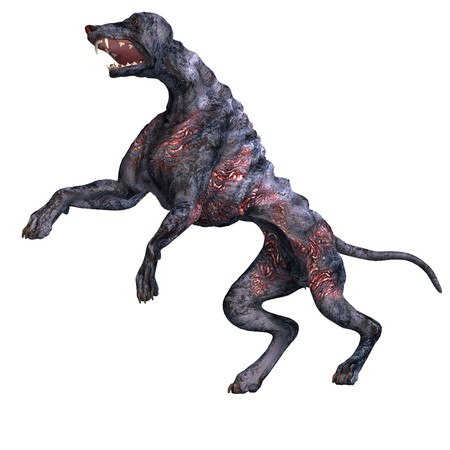 joust: creepy alien dog out of hell. 3D rendering
