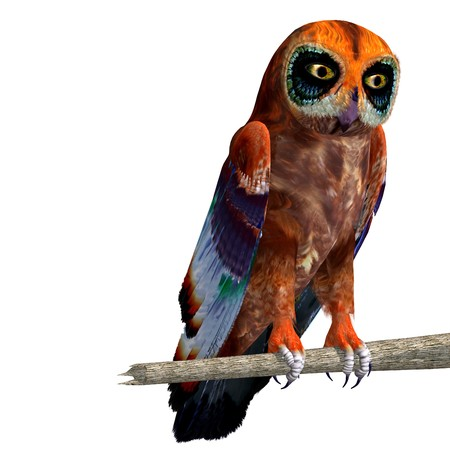 strigiformes: fantasy owl with rainbow colors. 3D rendering