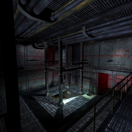 dismal: dark and scary place in a scifi setting. 3D rendering  Stock Photo