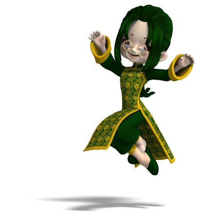 saltation: funny cartoon girl in green china dress. 3D rendering