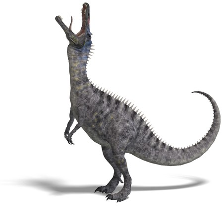 bluster: Dinosaur Suchominus. 3D rendering with shadow over white