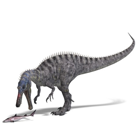 engulf: Dinosaur Suchominus. 3D rendering with shadow over white