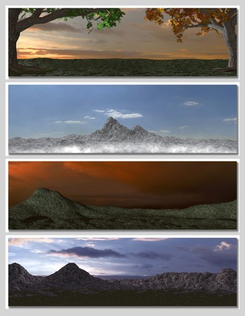 four different fantasy landscapes for banner, background or illustration. with clouds, mountains and sunset Stock Illustration - 7103450