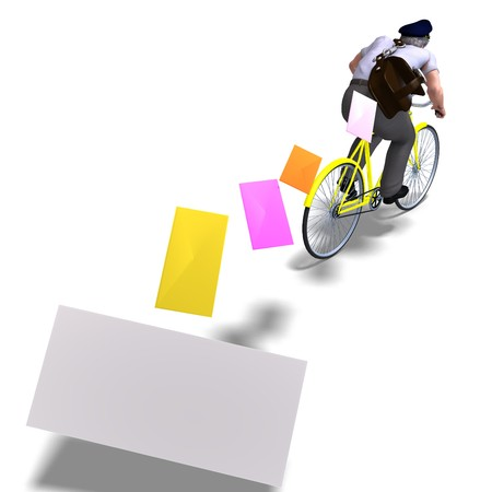 mailmen: postman on a bike with invitations. 3D rendering with  shadow over white