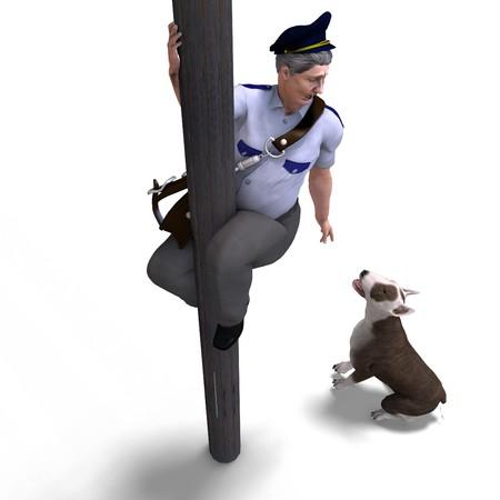 seeks: the postman seeks shelter fromt the dog