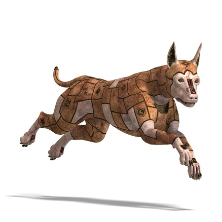automat: rusty scifi dog of the future.3D rendering with shadow over white