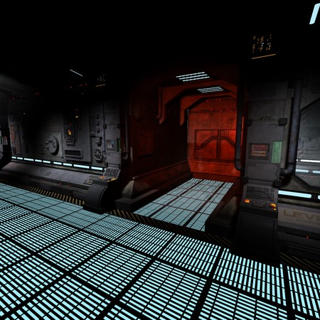 background image of a dark corridor on bord of a spaceship.  photo