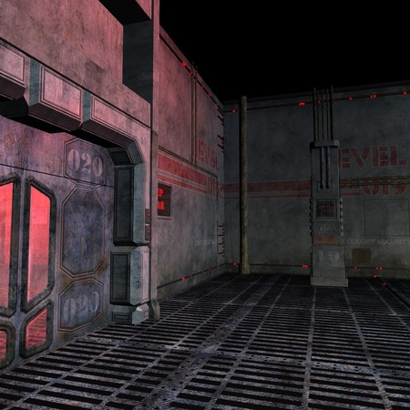 backcloth: dark and scary place in a scifi setting. 3D rendering with  shadow over white