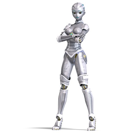appealing attractive: female sexy metallic robot. 3D rendering with  shadow over white