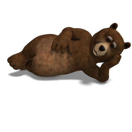 cute and funny toon bear. 3D rendering with  shadow over white photo