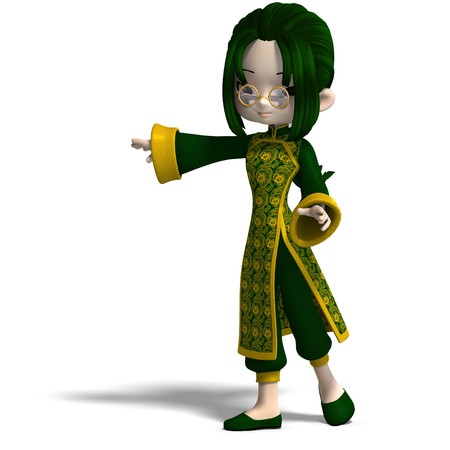 funny cartoon girl in green china dress. 3D rendering with shadow over white photo