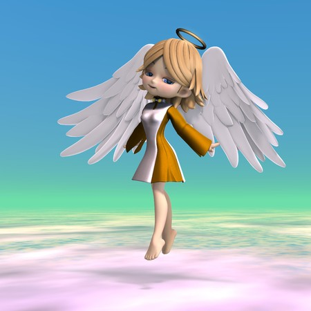 cute cartoon angel with wings and halo photo