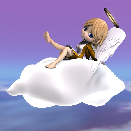 lassie: cute cartoon angel with wings and halo. 3D rendering
