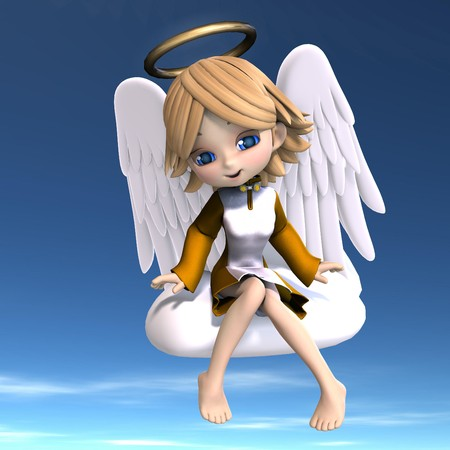 patronize: cute cartoon angel with wings and halo. 3D rendering with