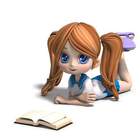 cute niña caricatura de escuela Lee un libro  Foto de archivo - 7103420