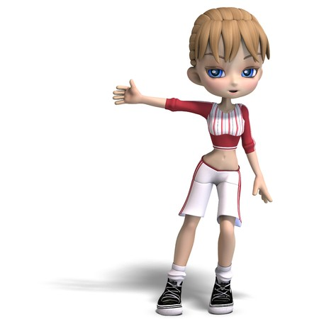 sweet little toon girl in short trousers. 3D rendering with  shadow over white Stock Photo - 7103364