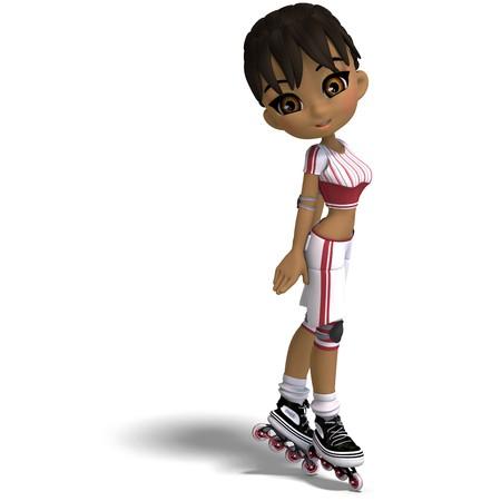 Cartoon cute girl avec patins en ligne. Rendu 3D avec ombre sur blanc  Banque d'images - 7103357