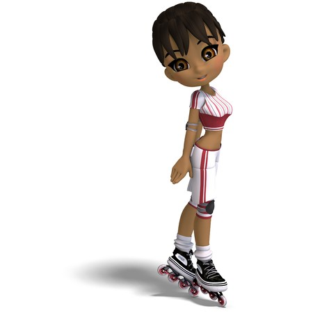lassie: cute cartoon girl with inline skates. 3D rendering with  shadow over white