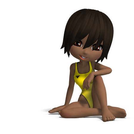 beautiful cartoon girl in a onepiece swimsuit. 3D rendering with shadow over white photo