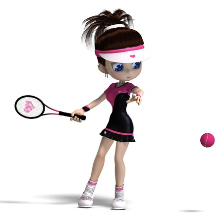 girl tennis: sporty toon girl in pink clothes plays tennis. 3D rendering with  shadow over white