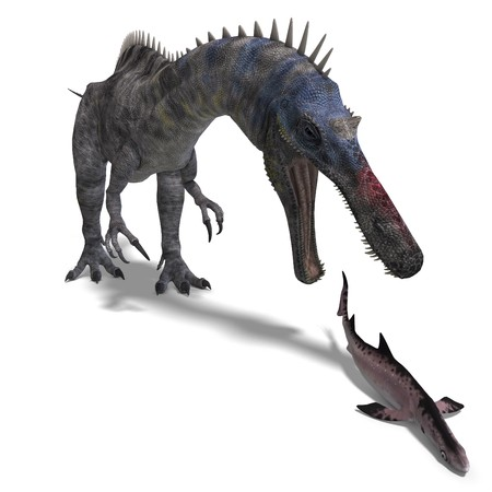 engulf: Dinosaur Suchominus. 3D rendering