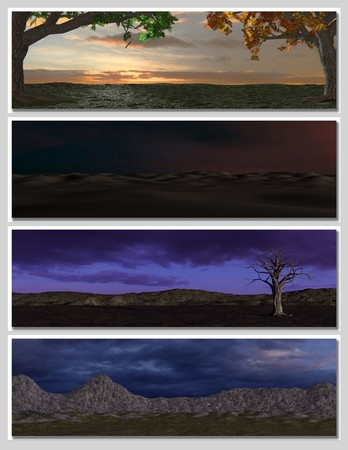 four different fantasy landscapes for banner, background or illustration. with clouds, mountains and sunset Stock Illustration - 7108870