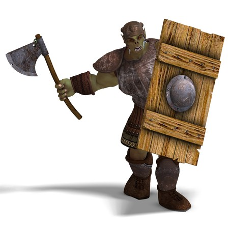 Male Fantasy Orc Barbarian with Giant Axe. 3D rendering  photo