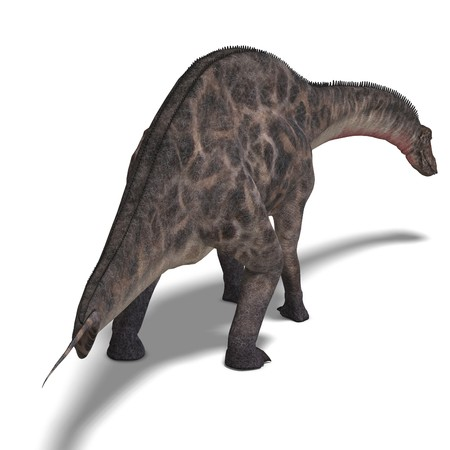 enormous: Dinosaur Dicraeosaurus. 3D rendering with clipping path and shadow over white