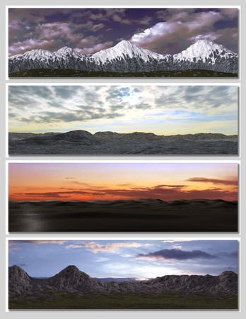 four different fantasy landscapes for banner, background or illustration. with clouds, mountains and sunset Stock Illustration - 7219055