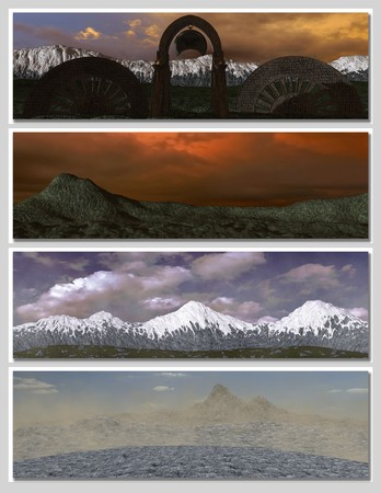 four different fantasy landscapes for banner, background or illustration. with clouds, mountains and sunset Stock Illustration - 7219056