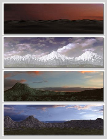four different fantasy landscapes for banner, background or illustration. with clouds, mountains and sunset Stock Illustration - 7219053