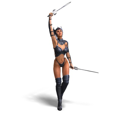 female amazon warrior with sword and armor.