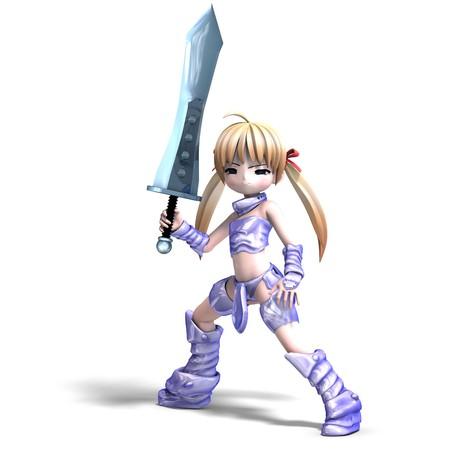 joust: female manga paladin with huge sword.