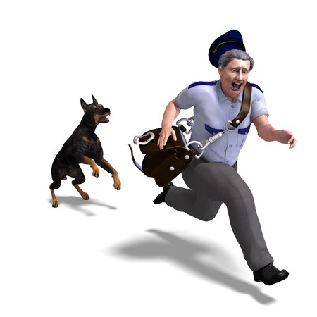 the postman runs from the dangerous dog. Stock Photo