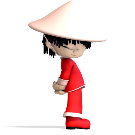 little cartoon china boy is so cute and funny.  photo