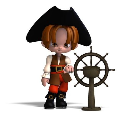 dinky: sweet and funny cartoon pirate with hat.