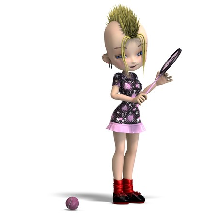 lassie: cute female cartoon punk is a tennis player.