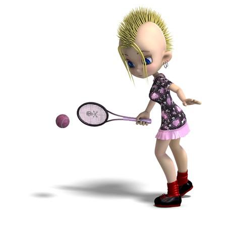 cute female cartoon punk is a tennis player.  photo