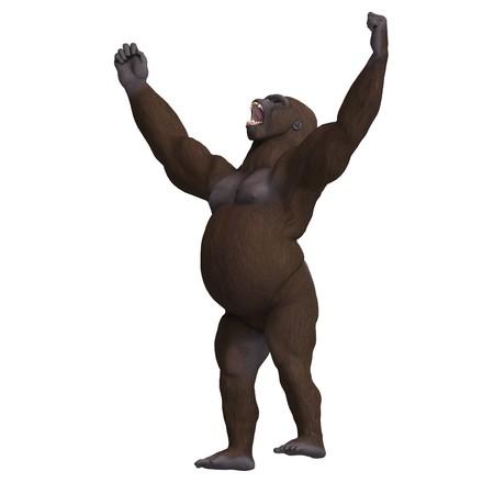 assail: gorilla won the fight. 3D rendering