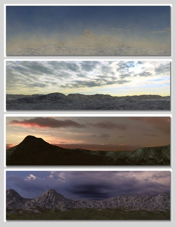 four different fantasy landscapes for banner, background or illustration. with clouds, mountains and sunset Stock Illustration - 7340970