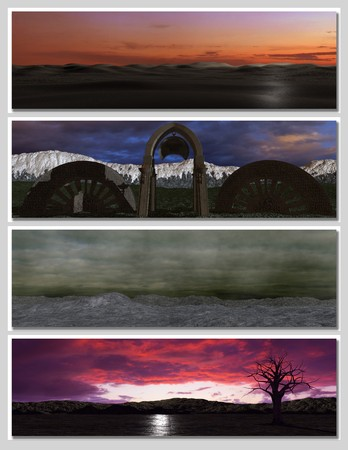 four different fantasy landscapes for banner, background or illustration. with clouds, mountains and sunset Stock Illustration - 7340972
