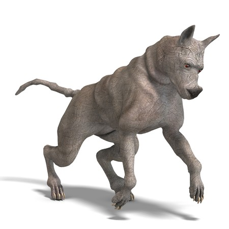 curious alien dog with rhino skin and horn. 3D rendering   Stock Photo