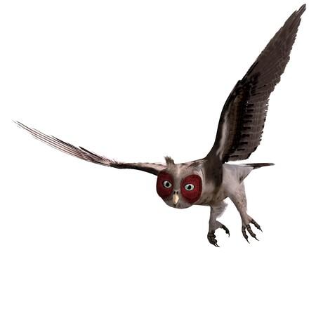 swoop: brown fantasy owl. 3D rendering