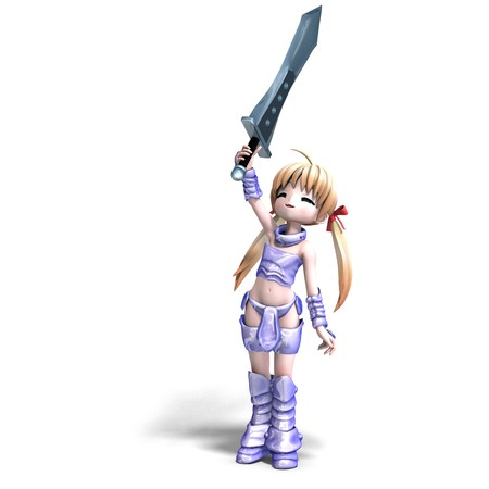 female manga paladin with huge sword. 3D rendering Stock Photo