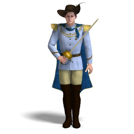 disposer: fairytale prince with sword and cape. 3D rendering