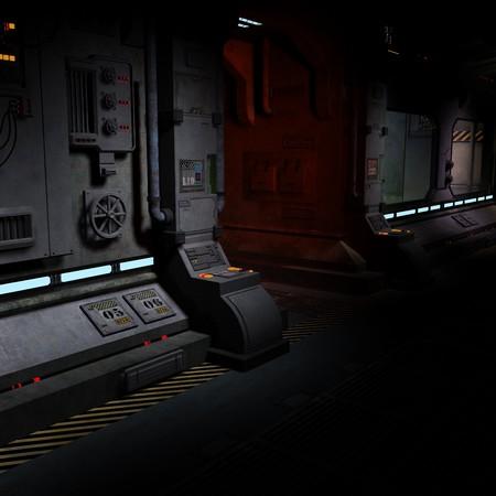 imagen de fondo de un pasillo oscuro en bord de una nave espacial.