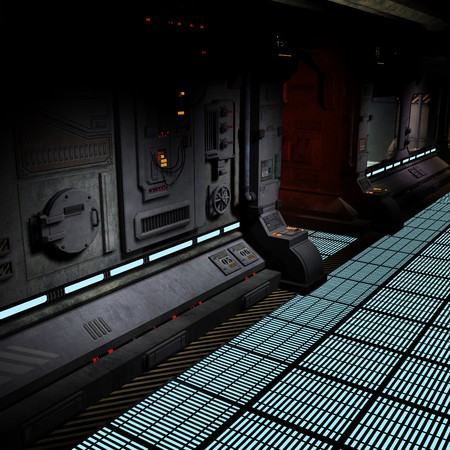 starship: background image of a dark corridor on bord of a spaceship.